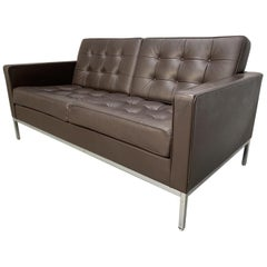 "Knoll Studio ""Florence Knoll"" Settee Sofa in ""Sabrina"" Mahogany Brown Leather"