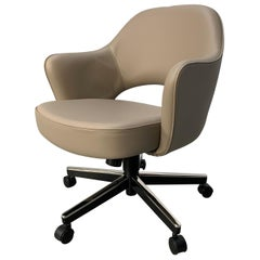 "Knoll Studio ""Saarinen Conference KNI-71A"" Swivel Armchair in ""Volo"" Leather"