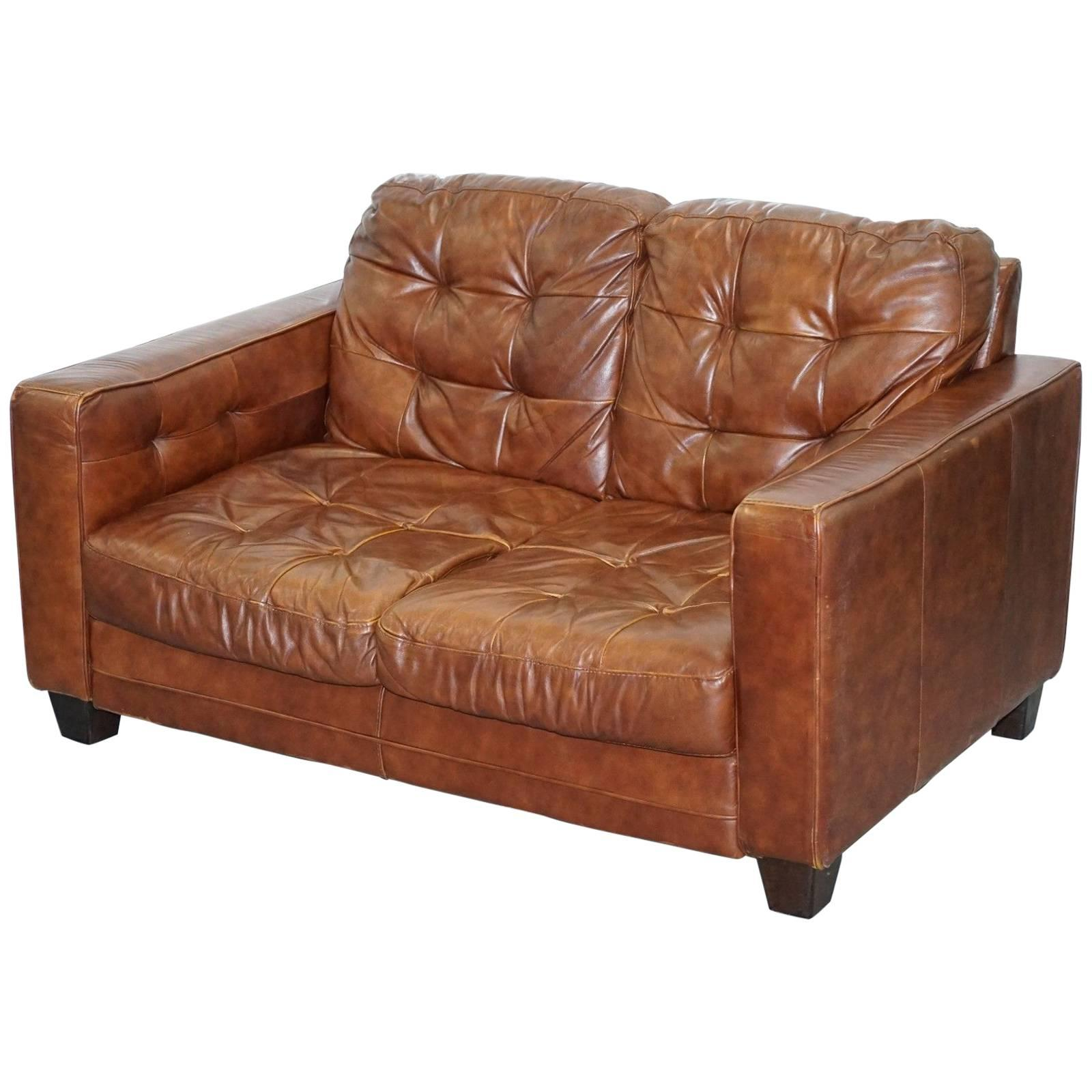 knoll style aged brown leather sofa chesterfield style buttoning two rh 1stdibs com aged tan leather sofa aged leather sofa sale