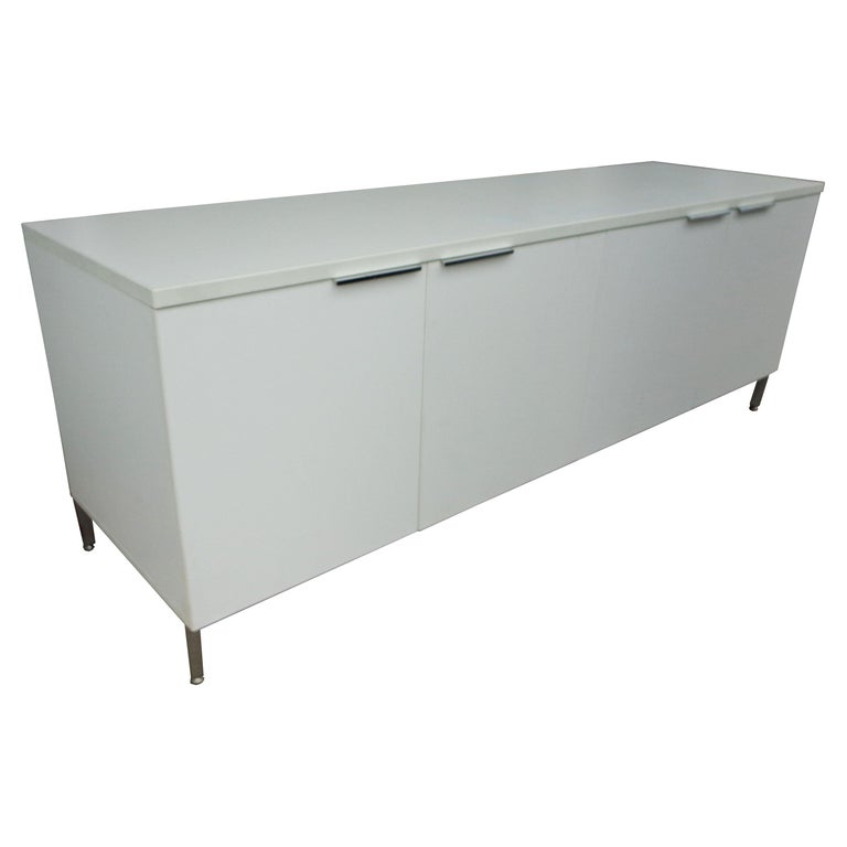 Knoll Style White Credenza For Sale
