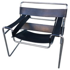 Knoll Wassily Chair by Marcel Breuer in Black Leather