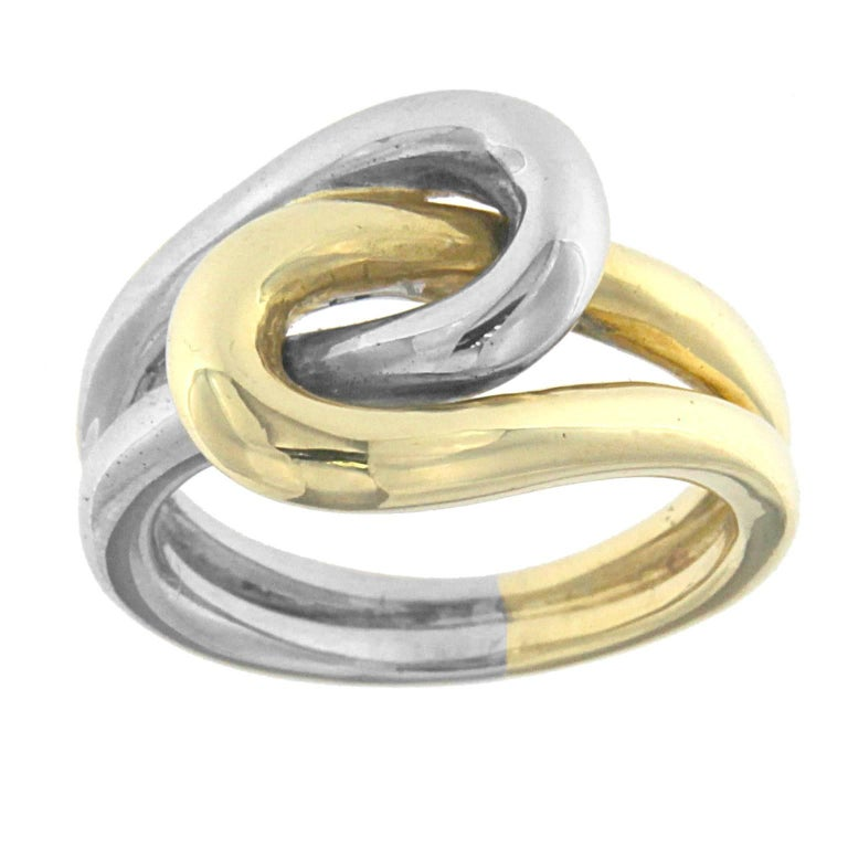 Knot Ring 18 Karat Yellow and White Gold