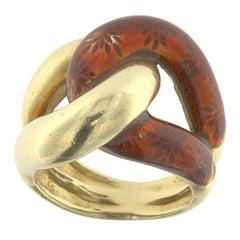 Knot Ring 18 Karat Yellow Gold Enameled