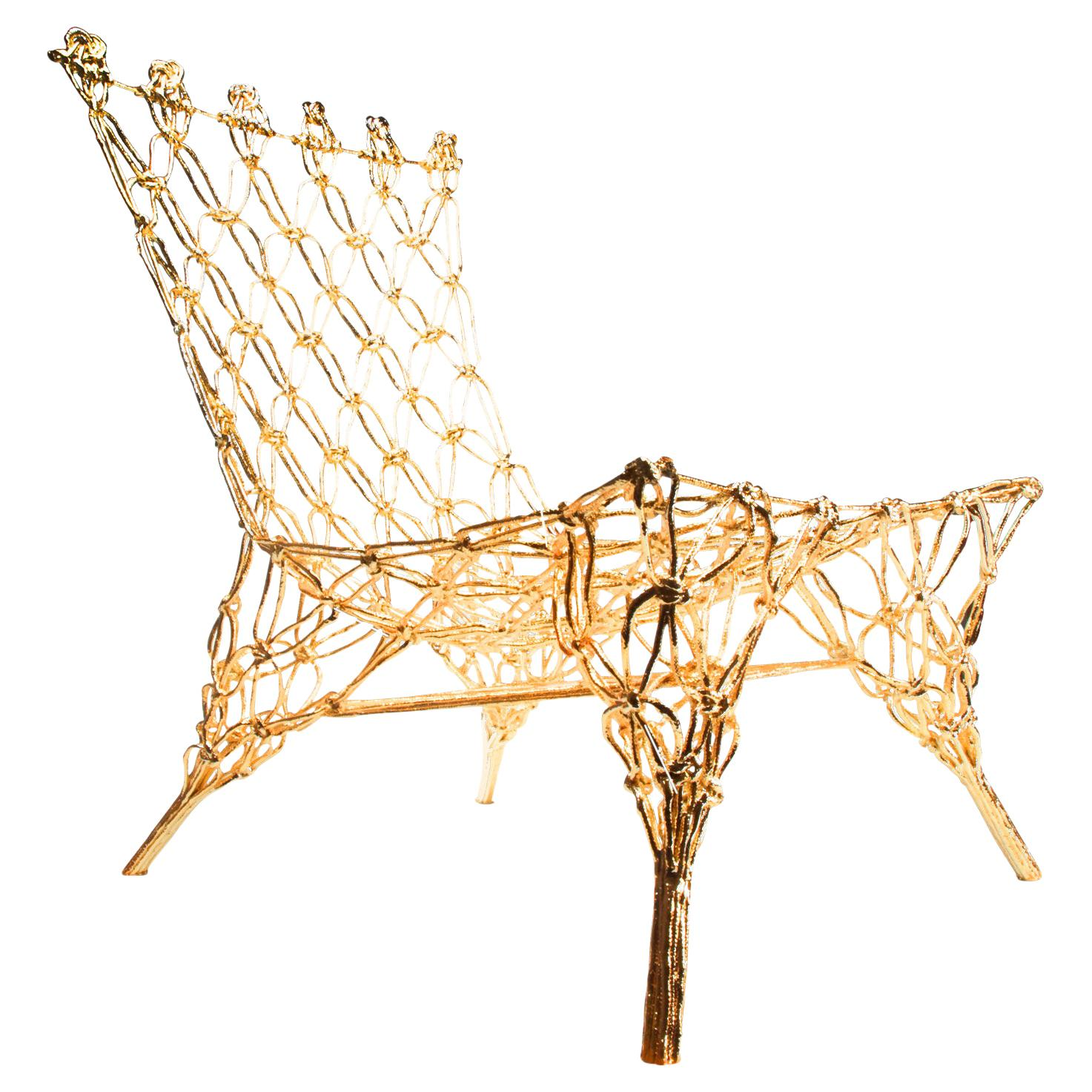 Knotted Chair, Gold, by Marcel Wanders, Hand-Knotted Chair, 2009, Limited