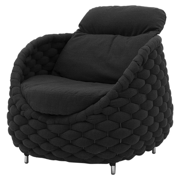Knotted Up Armchair In Black Or Grey Or Purple Fabric