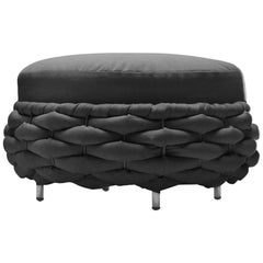 Knotted Up Stool in Black or Grey Fabric