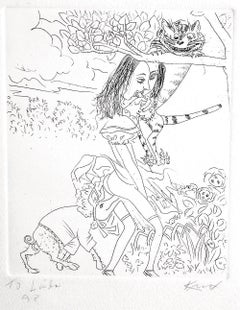 Alice In Wonderland: Cheshire Cat, Hand signed Etching, Erotica