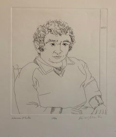 Pulitzer Prize Winner Norman Mailer Portrait Etching Line Drawing