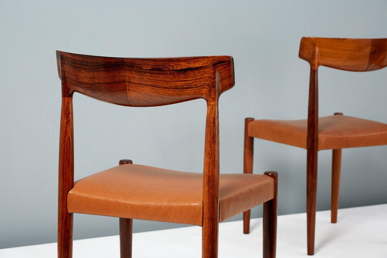Knud Faerch Set of 8 Model 343 Dining Chairs, Rosewood and Leather For Sale 5