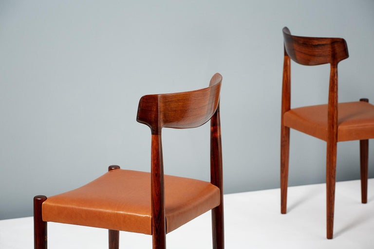Scandinavian Modern Knud Faerch Set of 8 Model 343 Dining Chairs, Rosewood and Leather For Sale