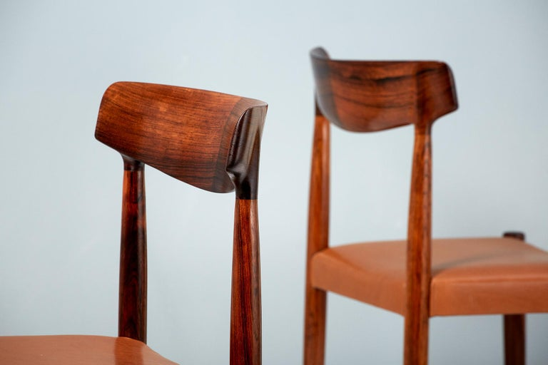 Danish Knud Faerch Set of 8 Model 343 Dining Chairs, Rosewood and Leather For Sale