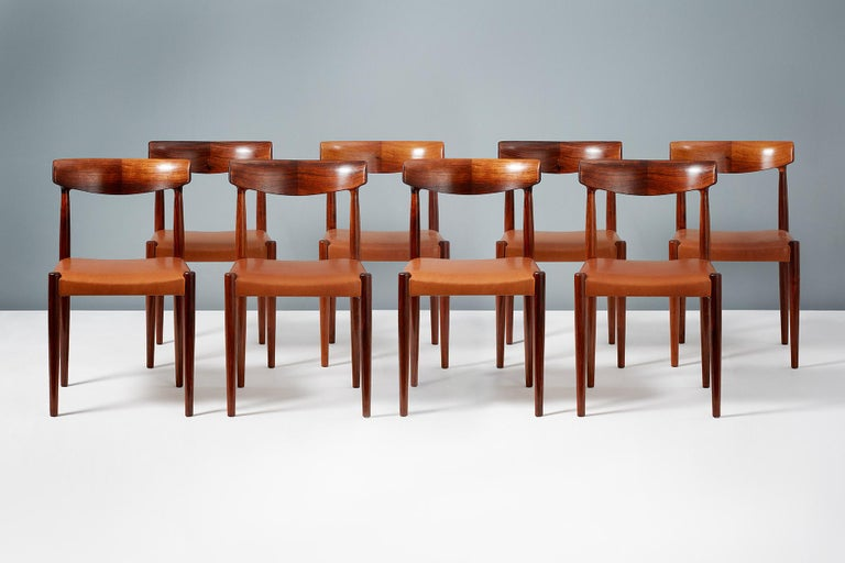 Knud Faerch Set of 8 Model 343 Dining Chairs, Rosewood and Leather In Excellent Condition For Sale In London, GB