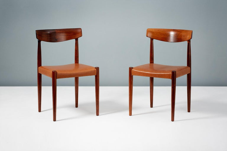 Mid-20th Century Knud Faerch Set of 8 Model 343 Dining Chairs, Rosewood and Leather For Sale