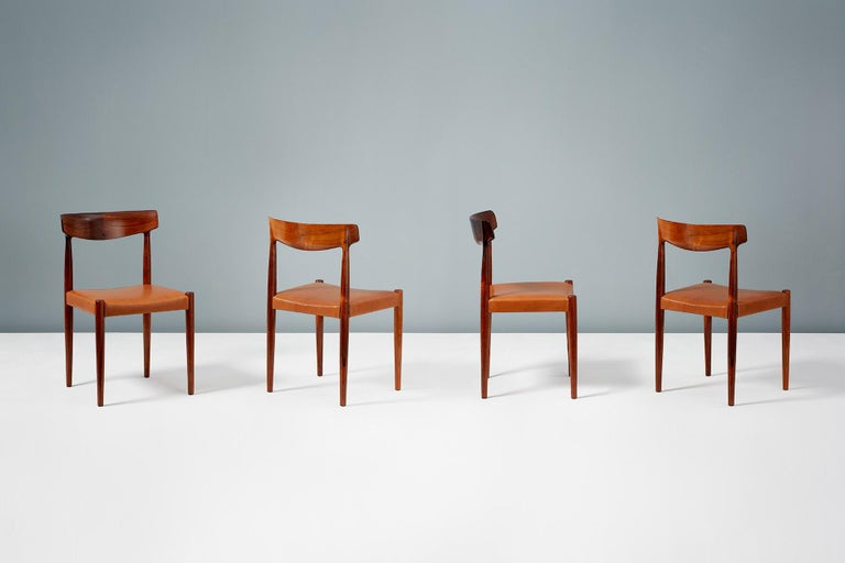Knud Faerch Set of 8 Model 343 Dining Chairs, Rosewood and Leather For Sale 1