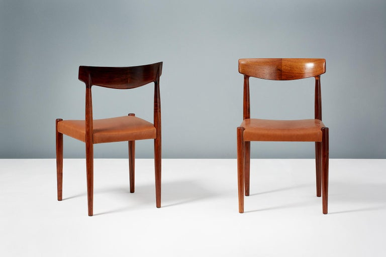 Knud Faerch Set of 8 Model 343 Dining Chairs, Rosewood and Leather For Sale 2