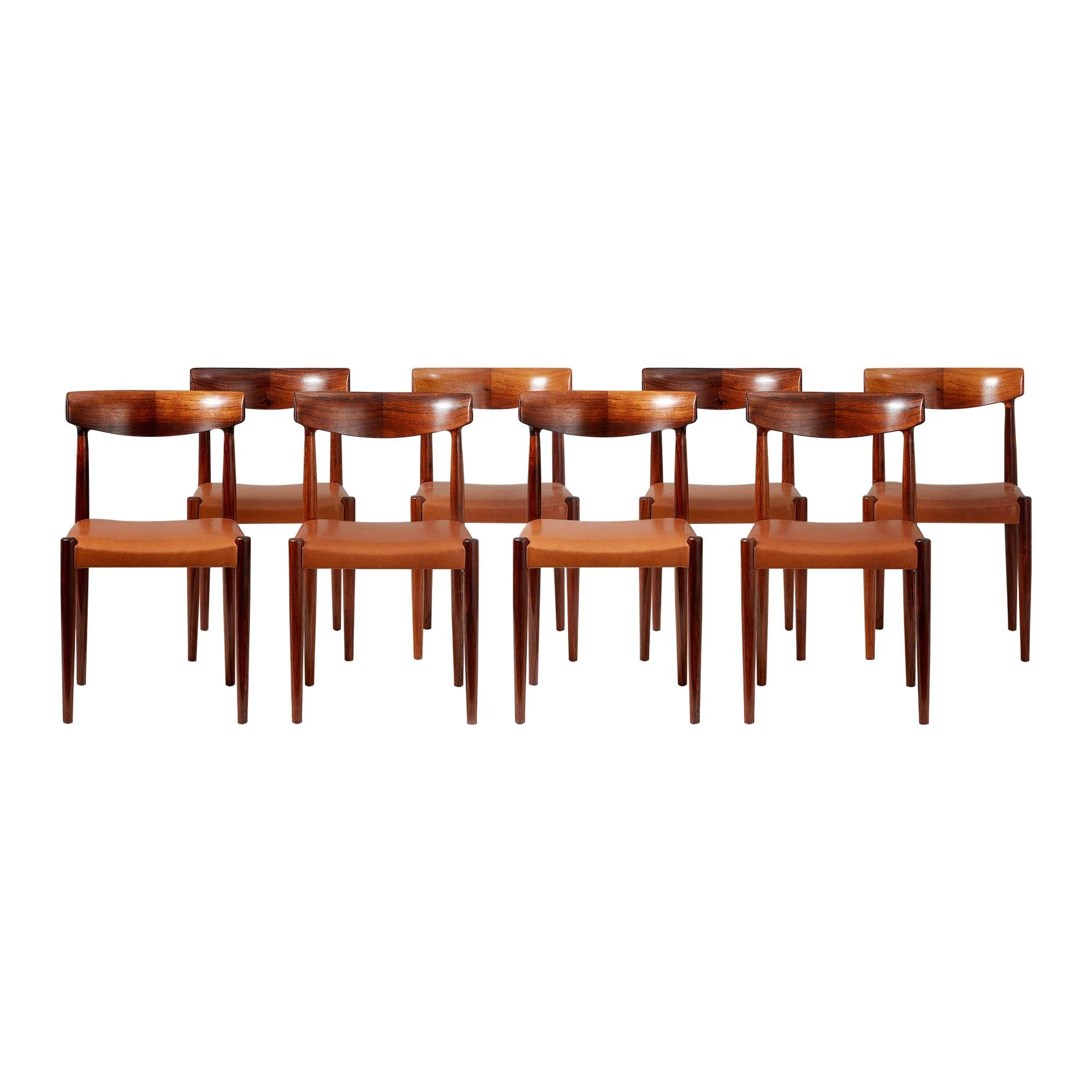 Knud Faerch Set of 8 Model 343 Dining Chairs, Rosewood and Leather