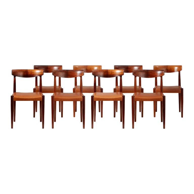 Knud Faerch Set of 8 Model 343 Dining Chairs, Rosewood and Leather For Sale