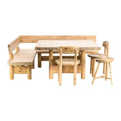 Knud Friis & Elmar Moltke Nielsen Dining Table Two Benches, Two Chairs, 1 Stool