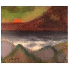 Knud Horup, Denmark, Oil on Board, Modernist Landscape with Sunset
