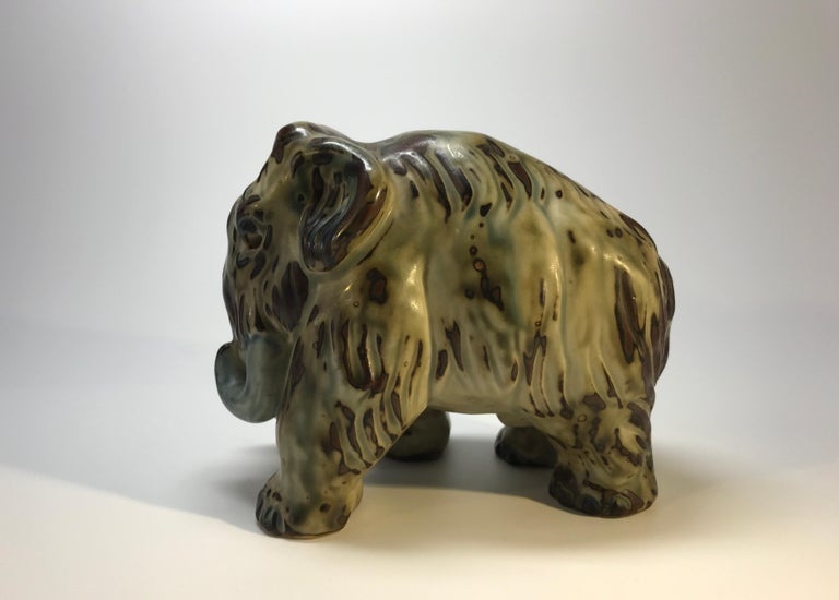 Danish Knud Kyhn Royal Copenhagen, Designed 1920's Sung Glaze Stoneware Mammoth #20207 For Sale