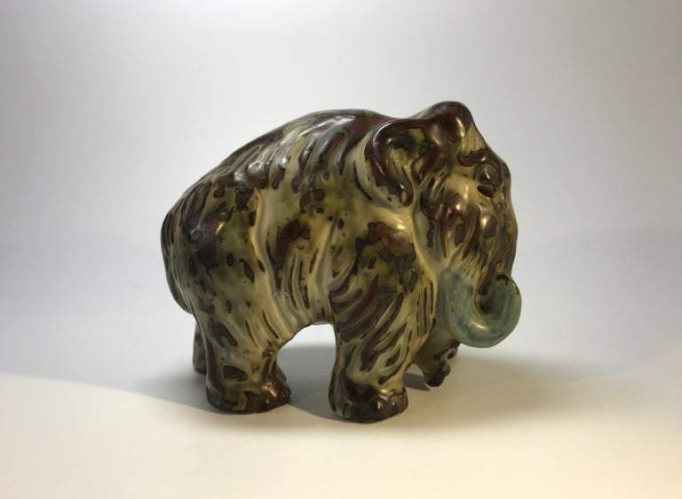 Glazed Knud Kyhn Royal Copenhagen, Designed 1920's Sung Glaze Stoneware Mammoth #20207 For Sale