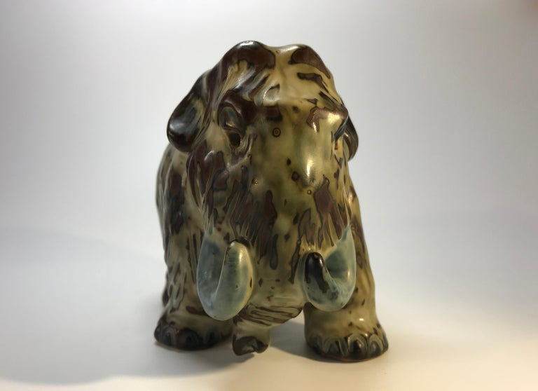 20th Century Knud Kyhn Royal Copenhagen, Designed 1920's Sung Glaze Stoneware Mammoth #20207 For Sale