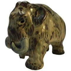 Knud Kyhn Royal Copenhagen, Designed 1920's Sung Glaze Stoneware Mammoth #20207