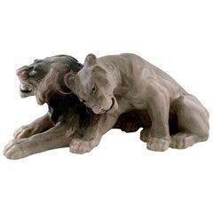 Knud Kyhn for B&G 'Bing & Grondahl' Large Rare Porcelain Lying Lion Couple