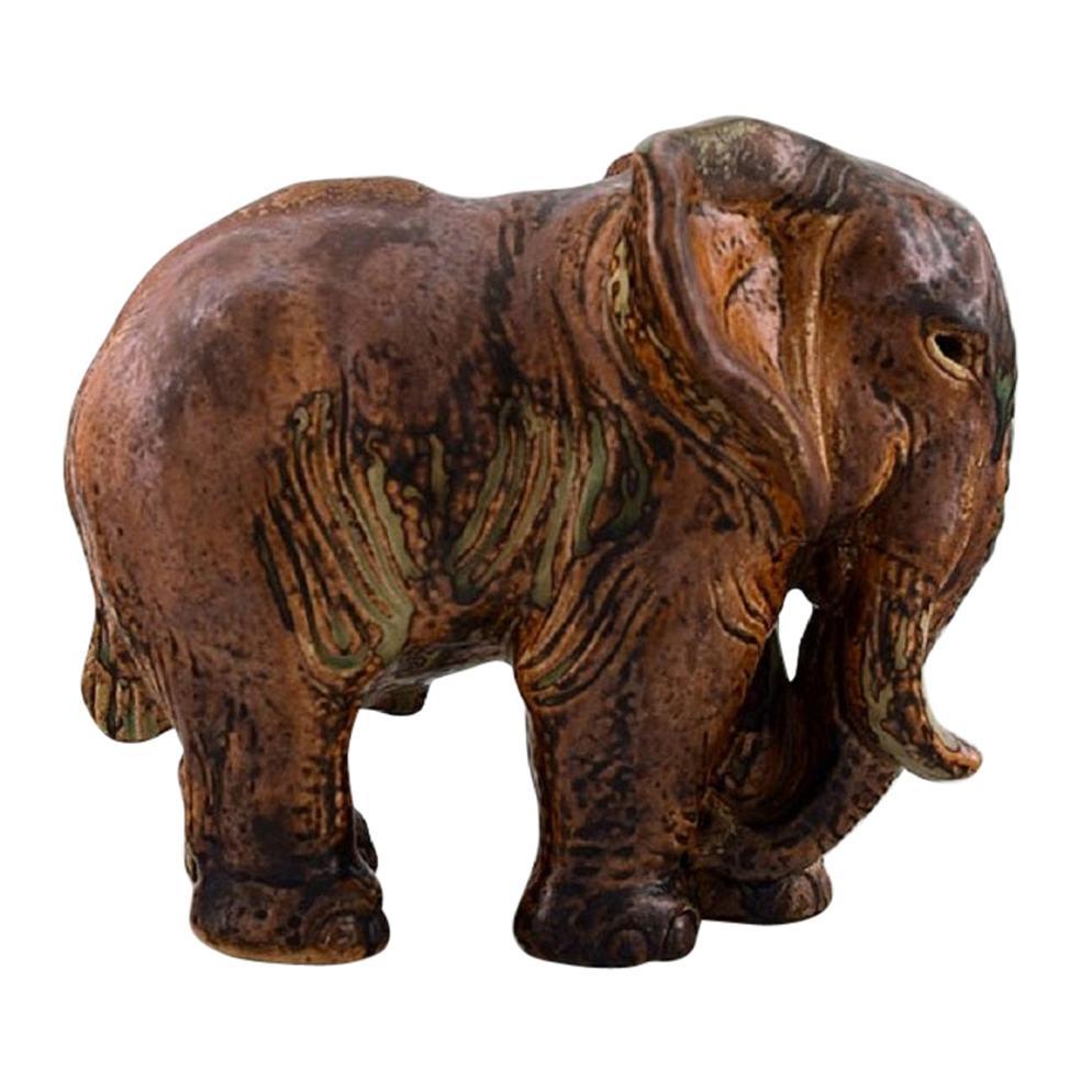 Knud Kyhn for Royal Copenhagen, Large Elephant in Glazed Stoneware