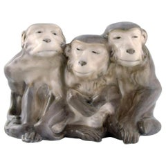 Knud Kyhn for Royal Copenhagen, Rare Porcelain Figure, Three Monkeys