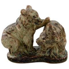 Knud Kyhn for Royal Copenhagen, Stoneware Figure # 21915, Playful Bear Cubs