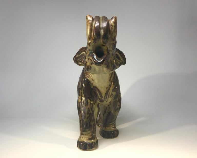Knud Kyhn for Royal Copenhagen Sung Glaze Stoneware Trumpeting Elephant #21517 In Excellent Condition For Sale In Rothley, Leicestershire
