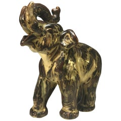 Knud Kyhn for Royal Copenhagen Sung Glaze Stoneware Trumpeting Elephant #21517