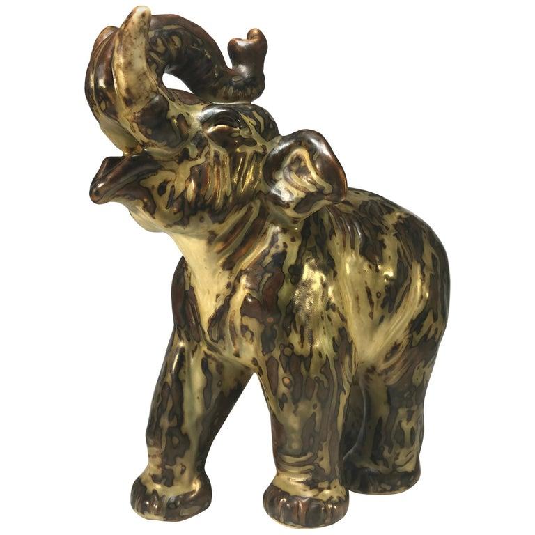 Knud Kyhn for Royal Copenhagen Sung Glaze Stoneware Trumpeting Elephant #21517 For Sale