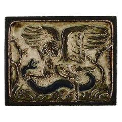 Knud Kyhn for Royal Copenhagen, Wall Plaque in Glazed Stoneware, Eagle and Snake