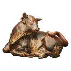 Knud Kyhn Stoneware Figurine of a Resting Bull No. 2595. Royal Copenhagen, 1950