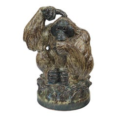Knud Kyhn for Royal Copenhagen Ceramic Orangutan Sculpture