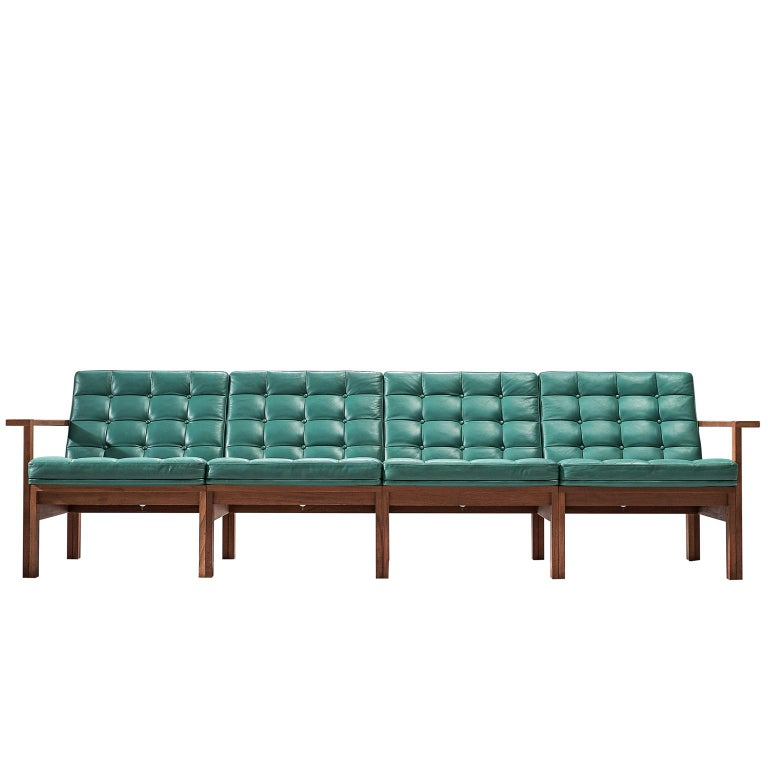 Knudsen And Lind Moduline Sofa In Turquoise Leather For