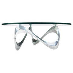 "Knut Hesterberg Aluminum and Glass ""Snake"" Coffee Table by Ronald Schmitt, 1960s"