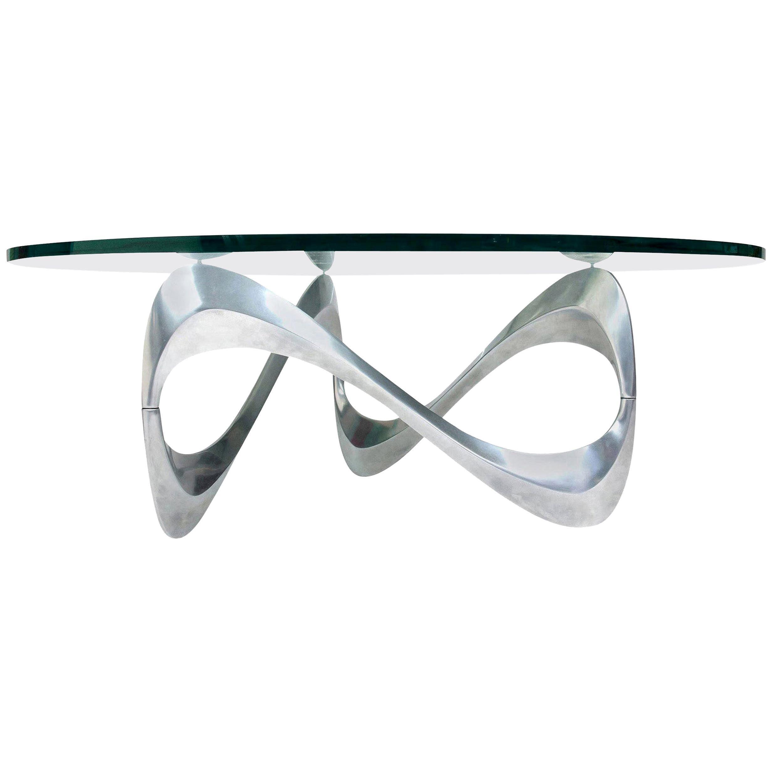 "Knut Hesterberg Aluminum and Glass ""Snake"" Coffee Table by Ronald Schmitt, 1960s"
