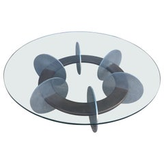 Knut Hesterberg Inspired Round Walnut and Stainless Steel Coffee Table