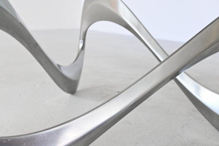 Glass Knut Hesterberg Snake Coffee Table Ronald Schmitt, Germany, 1965