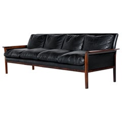 Knut Saeter for Vatne Mobler Black Leather and Rosewood Four-Seat Sofa Couch