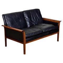 Knut Saeter for Vatne Mobler Black Leather and Rosewood Settee Sofa Couch