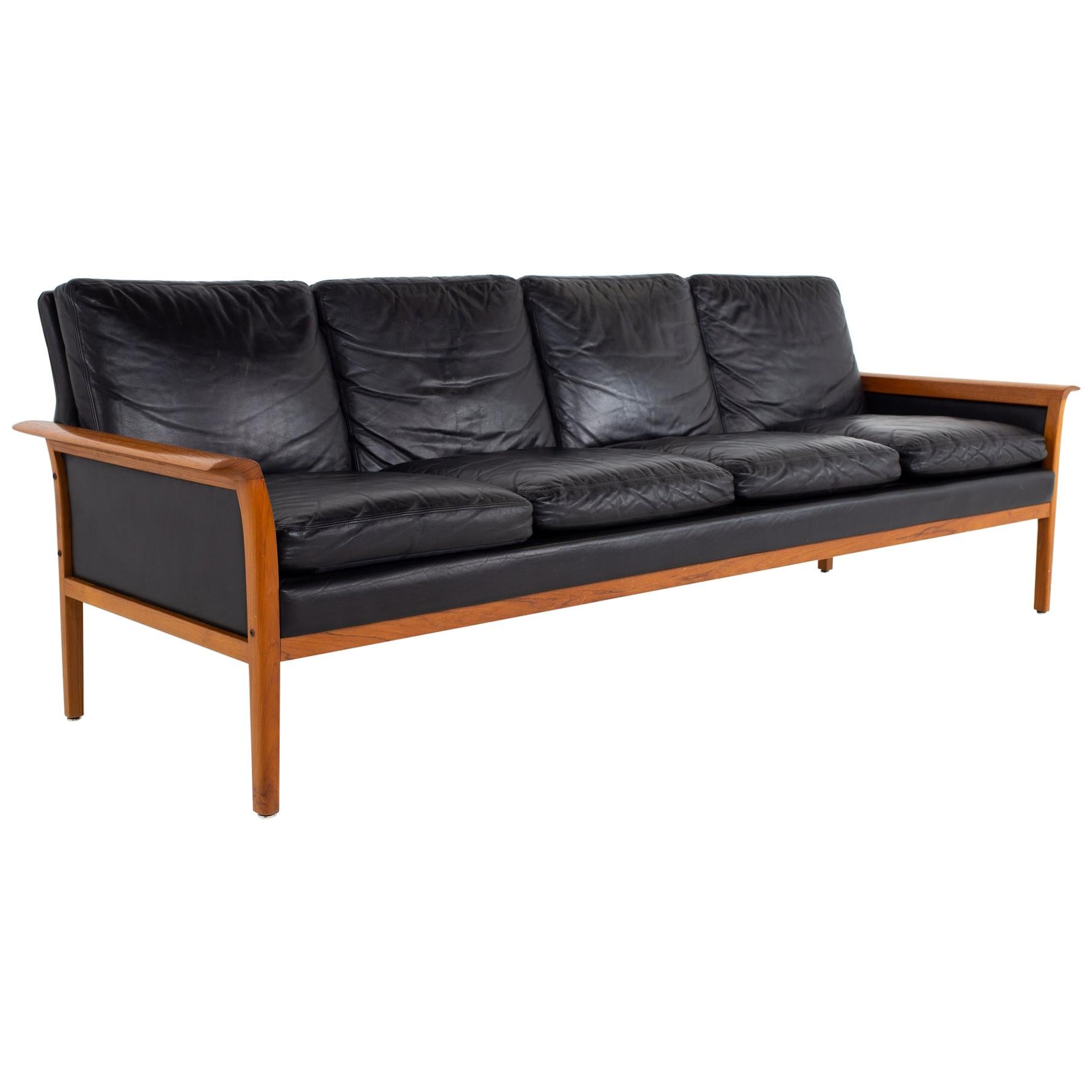 Knut Sæter for Vatne Mobler Mid Century Danish Teak and Black Leather Sofa