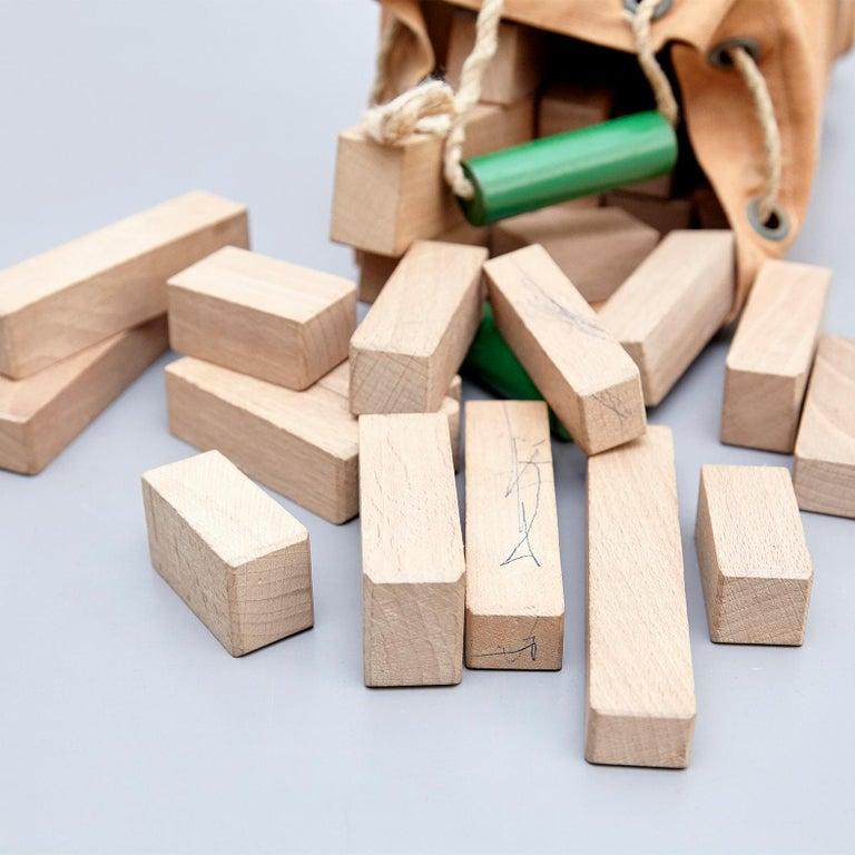 Canvas Ko Verzuu for Ado, Mid Century Modern, Wood Blocks Construction Netherlands Toy  For Sale