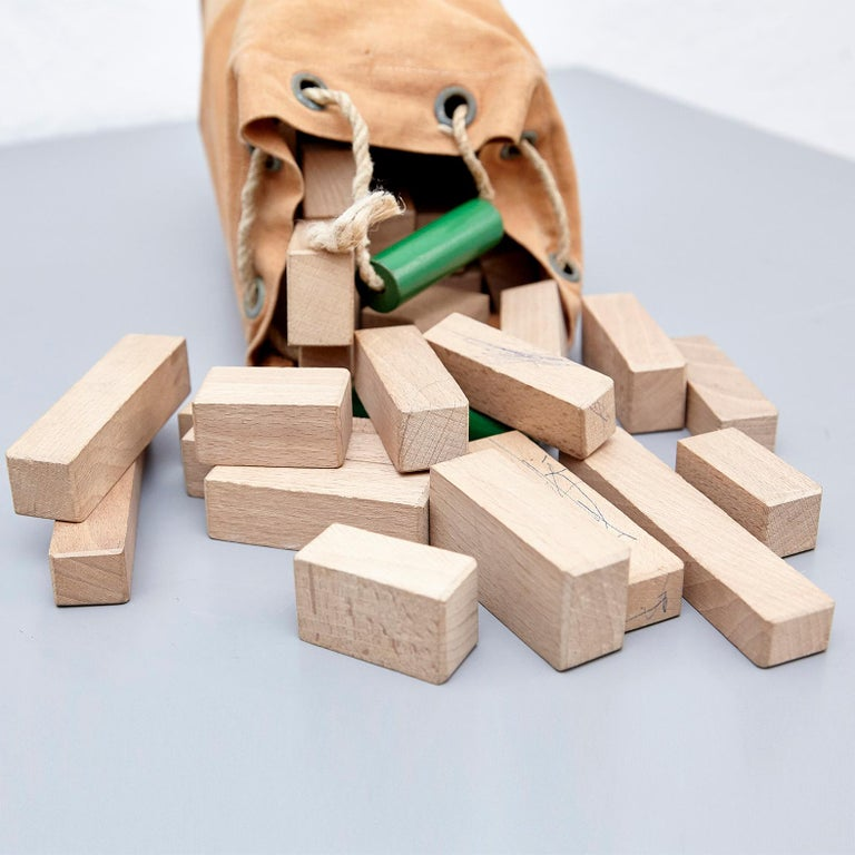 Ko Verzuu for Ado, Mid Century Modern, Wood Blocks Construction Netherlands Toy  For Sale 1