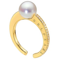 """Kobe Collection"" Akoya Pearl and Diamond Ring"