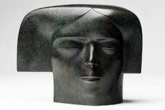 Meditatie Meditation Green Bronze Sculpture Figurative Head  In Stock