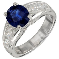 Kobi 2.25 Carat Oval Blue Sapphire Radiant Diamond Platinum Engagement Ring